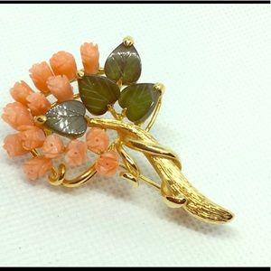 Vintage Jewelry Coral and Jade Floral Brooch